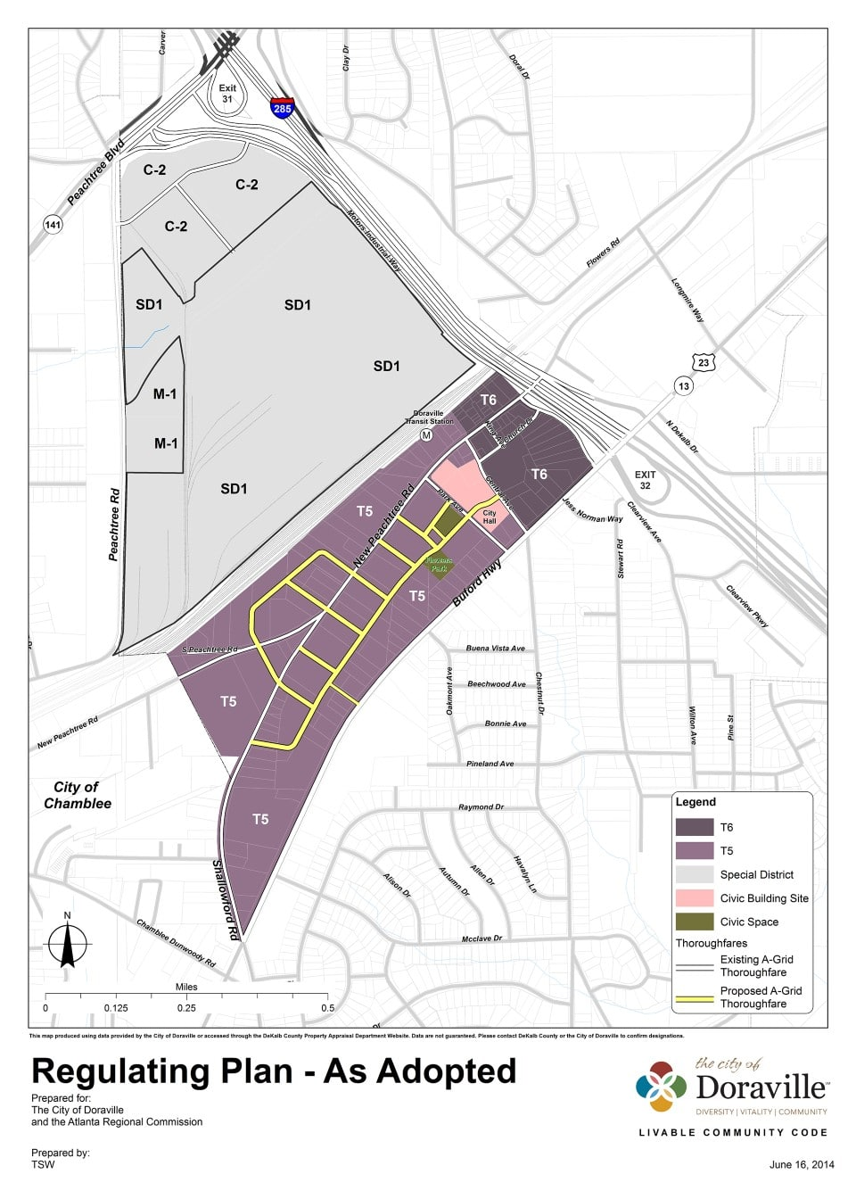 TSW DoravilleTOD_LCIRegulatingPlan_Adopted1 City of Doraville Approves New Zoning Code To Allow Mixed-use Development In The News Planning  Doraville Code TSW   TSW