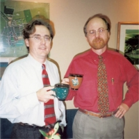 Jerry and Bill in new office, Christmas 1992