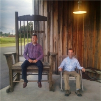 Garrett and Woody on college planning site visit, 2014