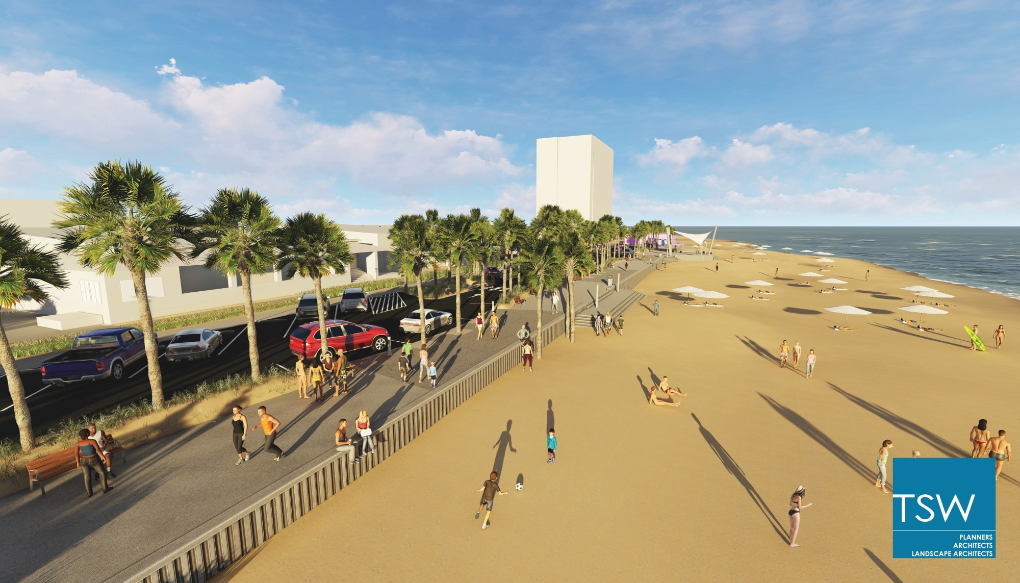 TSW 2017.09.6-Phase-2-Marketing-Images1 Gulf Shores Begins Phase II of Public Beach Transformation In The News Landscape Architecture Planning Sustainable Design  Habitat Environment Public Private Partnership Public Park Urban Design Southeast complete streets resilient coastal waterfront Waterfront Development Revitalization Low Impact Development Gulf Place TSW redevelopment   TSW