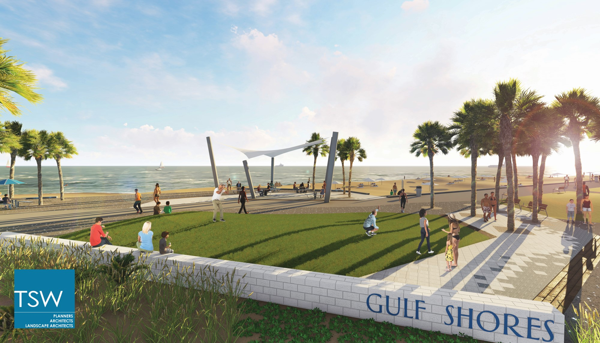 TSW 2017.09.6-Phase-2-Marketing-Images14 Gulf Shores Begins Phase II of Public Beach Transformation In The News Landscape Architecture Planning Sustainable Design  Habitat Environment Public Private Partnership Public Park Urban Design Southeast complete streets resilient coastal waterfront Waterfront Development Revitalization Low Impact Development Gulf Place TSW redevelopment   TSW