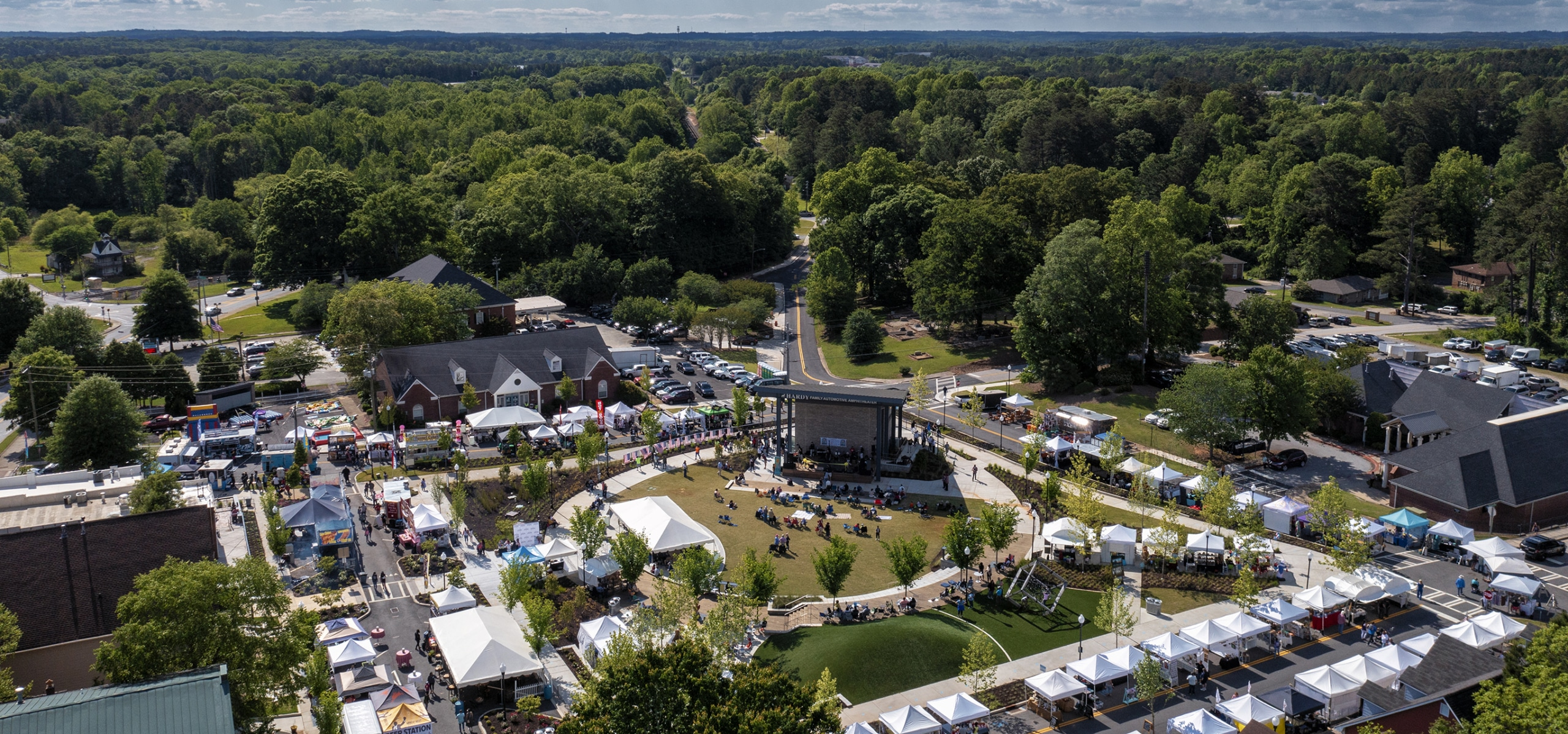 Powder Springs Town Green Grand Opening Aerial Photo