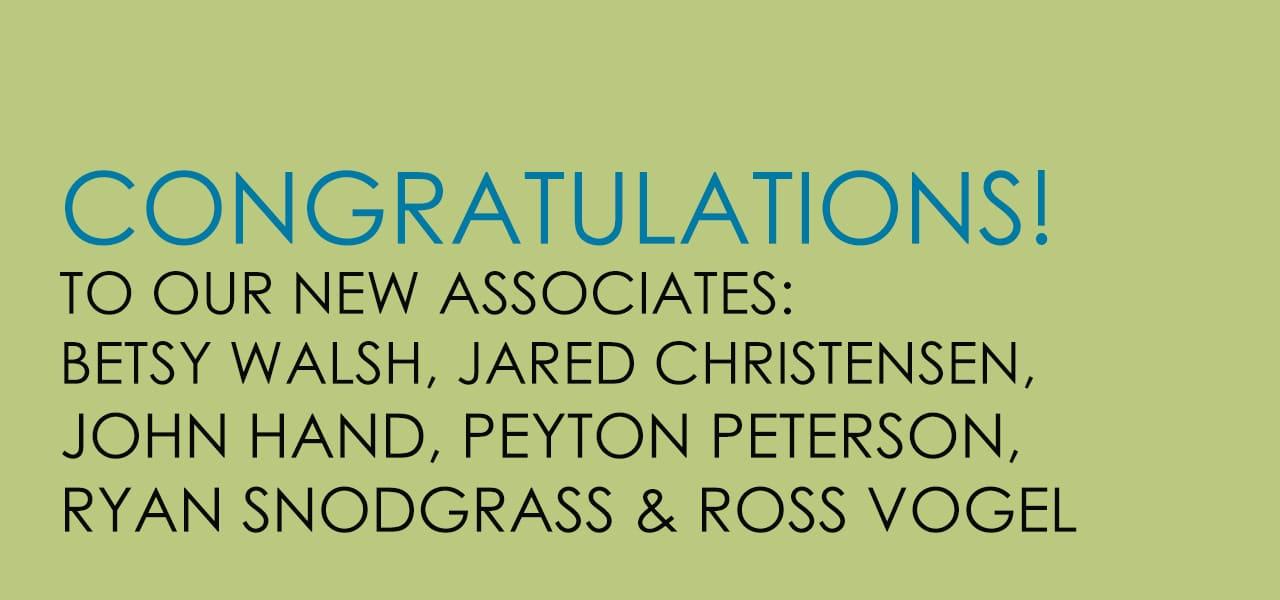 TSW Congratulates Our New Associates