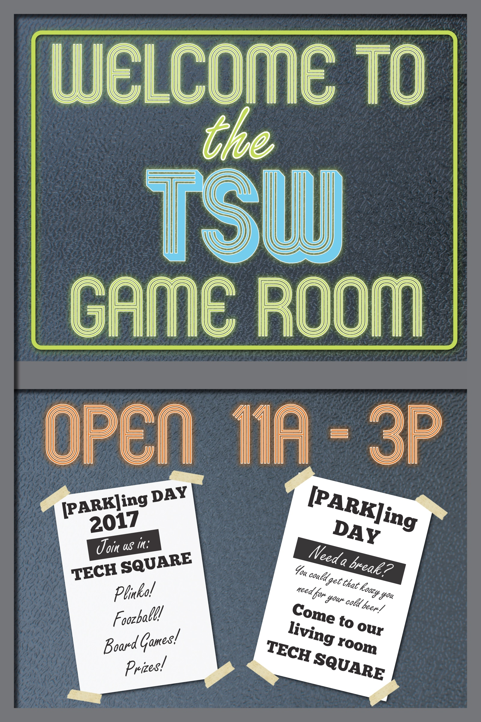 TSW Game-Room-PARKING-DAY-Poster TSW's PARK(ing) Day Recap In The News Giving Back  on-street parking onstreet parking Giving Back Tech Square game room parklet park(ing) day TSW Midtown   TSW