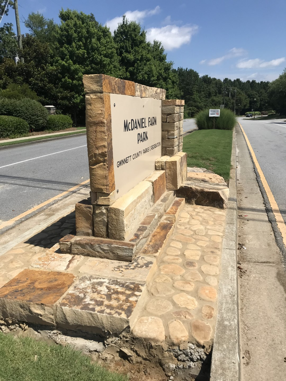 McDaniel Farm Park Entry Sign Place Based Branding by TSW's Landscape Architecture Studio