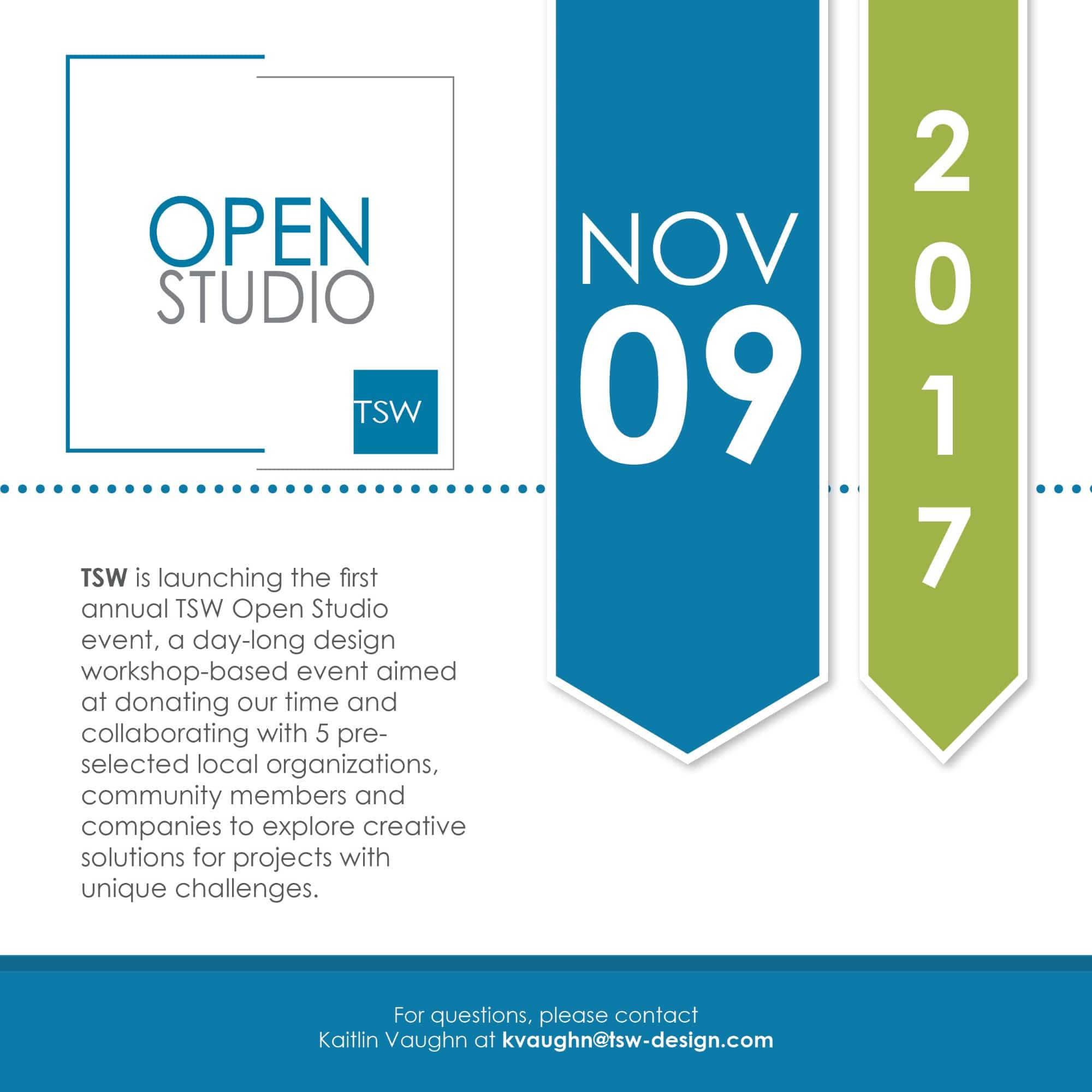 TSW Mini-Flyer-Custom TSW's First Open Studio is Next Week Giving Back  Open Studio Giving Back TSW   TSW