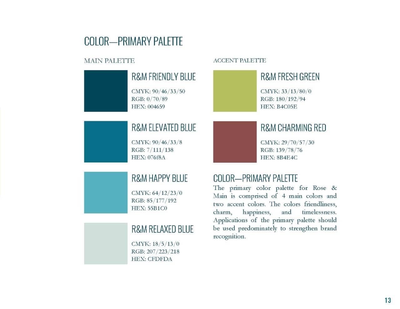 Rose & Main Brand Standards - Place Based Branding color palette