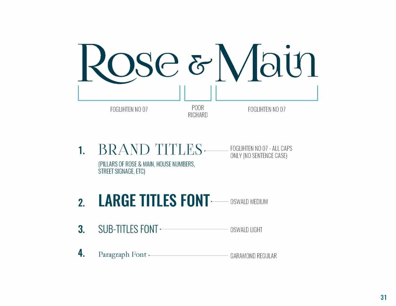 Rose & Main Brand Standards - Place Based Branding Typeface Font