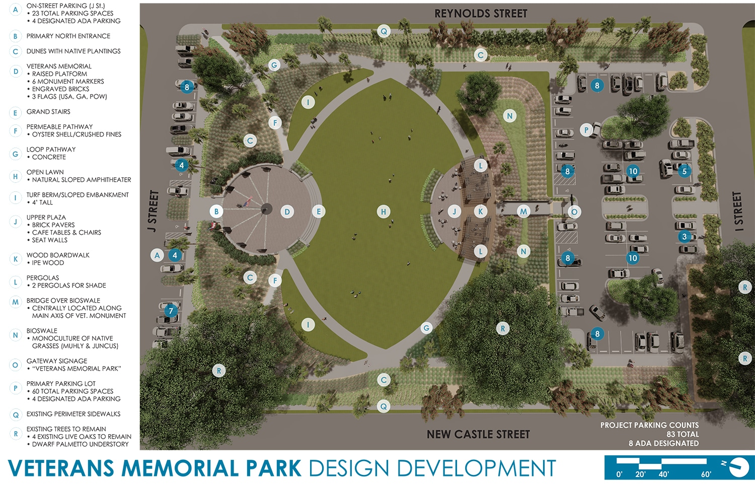 TSW Veterans_Memorial_1 Veterans Memorial Park Concept In The News Landscape Architecture Sustainable Design  Amphitheater Veterans Memorial Brunswick Glynn County TSW Bioswale   TSW