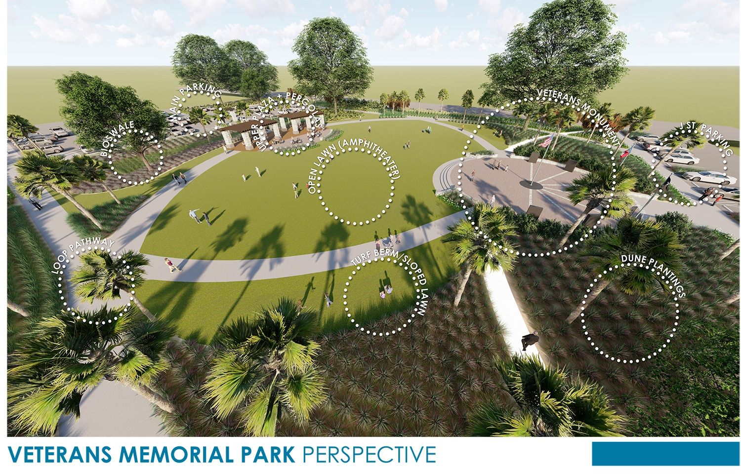 TSW Veterans_Memorial_2 Veterans Memorial Park Concept In The News Landscape Architecture Sustainable Design  Amphitheater Veterans Memorial Brunswick Glynn County TSW Bioswale   TSW