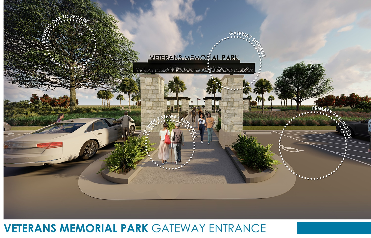 TSW Veterans_Memorial_3 Veterans Memorial Park Concept In The News Landscape Architecture Sustainable Design  Amphitheater Veterans Memorial Brunswick Glynn County TSW Bioswale   TSW
