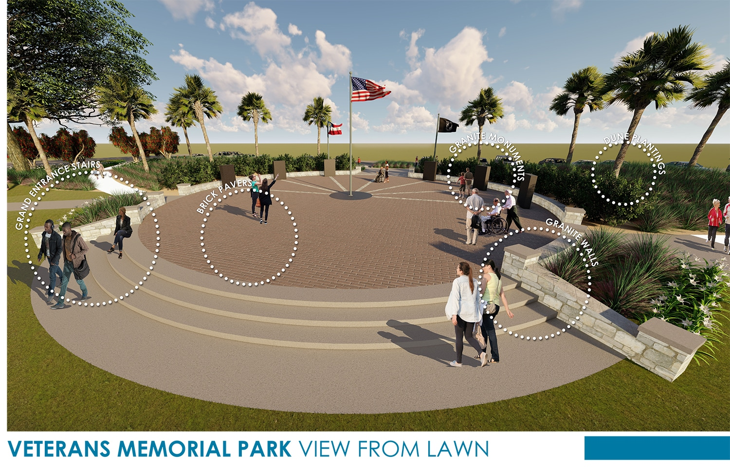 TSW Veterans_Memorial_5 Veterans Memorial Park Concept In The News Landscape Architecture Sustainable Design  Amphitheater Veterans Memorial Brunswick Glynn County TSW Bioswale   TSW